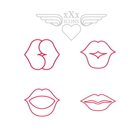 Ensemble d'icônes érotiques. Icônes Thème sexy pour les sex-shops ou les contenus pour adultes. Sous-vêtements d'image sexy, sein féminin, coeur et lèvres. Différents types de moyens contraceptifs. Sex toys. Banque d'images - 73111553