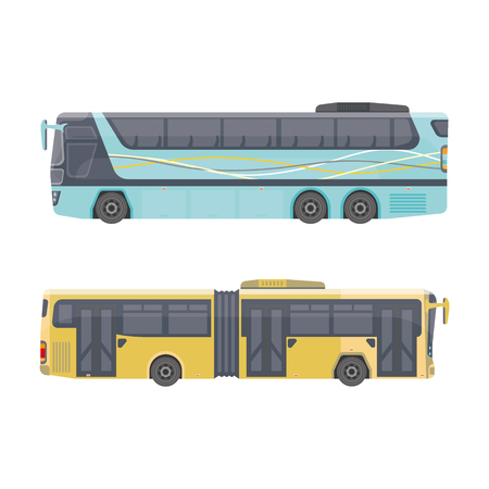 Urban transport. Shuttle buses for the city. Vector detailed illustration for presentation and printing. Illusztráció