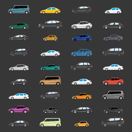 도로 교통. 무거운 트래픽을 그림입니다. 차량 유형의 다른 버전. 스톡 콘텐츠 - 73450392