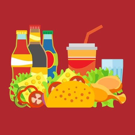 Illustration of fast food products. Pictures diverse street food for a quick snack. Bright color image in a vector for high quality products. Ilustração