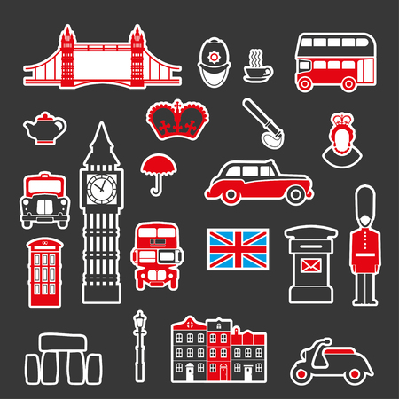 Set of icons on the theme of England and the Kingdom of Great Britain. Colored vector illustration for mobile ideas and design visualization.