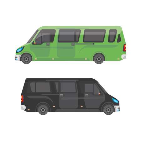 minibus: Urban transport. Shuttle buses for the city.