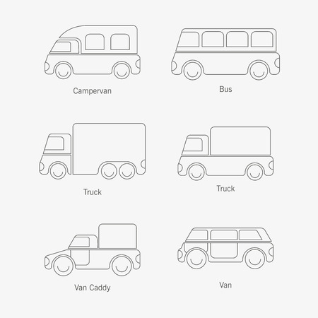 The design of cars of different types of body painting for various catalogs of urban traffic and presentations. Иллюстрация