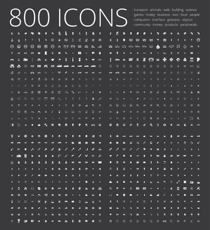 Un gran conjunto de iconos únicos para el diseño y la tecnología moderna de diversos temas: gestos, personas, transporte, afición, equipo, computadora, herramienta, los medios de comunicación