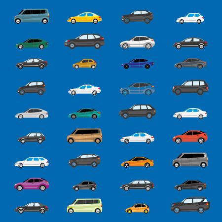 도로 교통. 무거운 트래픽을 그림입니다. 차량 유형의 다른 버전.
