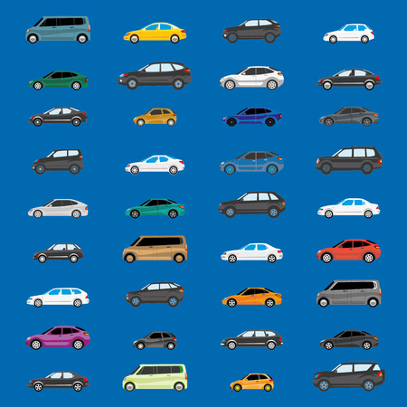 Road traffic. Illustration with heavy traffic. Different versions of vehicle types. Stock Illustratie