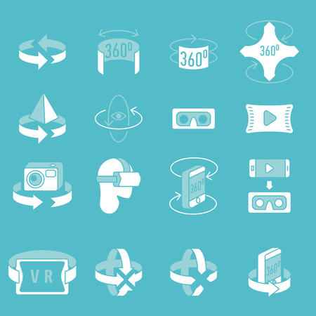 360 degrees icons set. Arrows in the direction of rotation. Icons panoramic shooting. Tools for virtual reality. 360 degrees rotation concept icons set