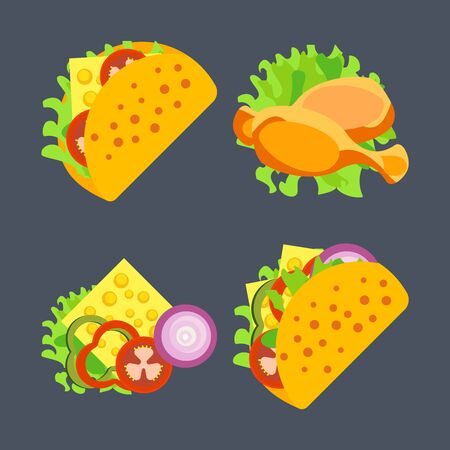 Illustration of fast food products. Pictures diverse street food for a quick snack. Bright color image in a vector for high quality products. Illusztráció