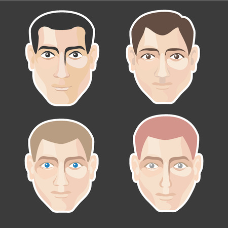 The young man's head. Vector colored detailed illustration ready for editing for various forms and types of faces of men.