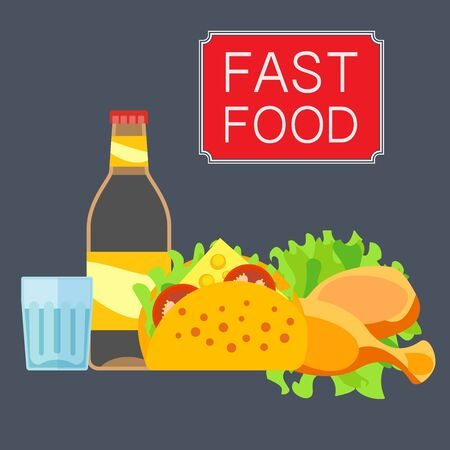 Illustration of fast food products