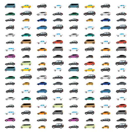 Road traffic. Illustration with heavy traffic. Different versions of vehicle types. Ilustrace