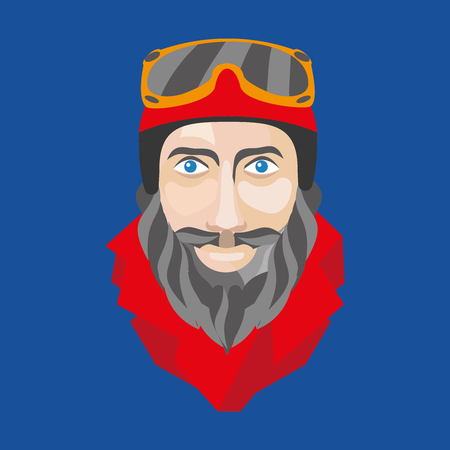 Faces skier or snowboarder made in a flat vector style. Ready-quality illustration for winter sports. 向量圖像