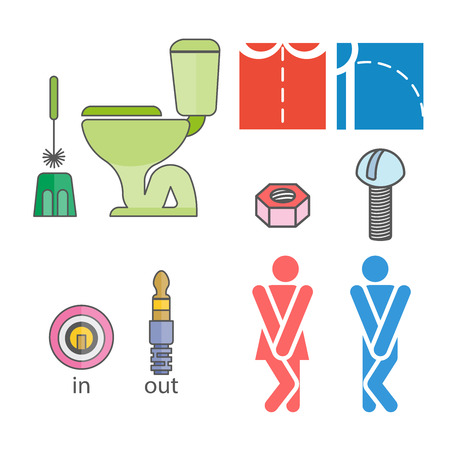 WC logo. Illustrations denoting male or female toilet. Various funny options. Closets and WC accessories. Stylized figures of men and women.