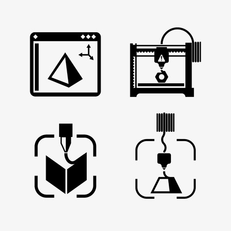 3D Printer lines design vector illustration. The printing process on the 3D printer Flat design with icon set - stock vector