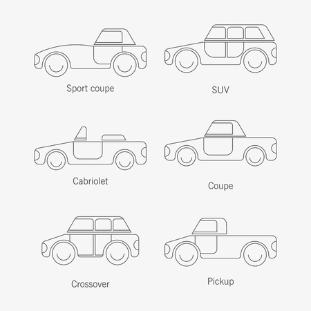 The design of cars of different types of body painting for various catalogs of urban traffic and presentations