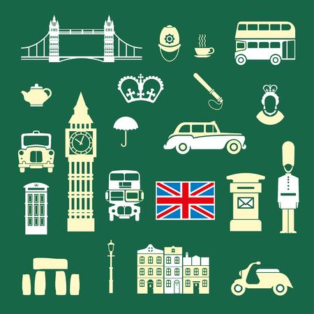 Conjunto de iconos sobre el tema de Inglaterra y el Reino de Gran Bretaña. ilustración vectorial de color para las ideas móviles y visualización de diseños. Foto de archivo - 73268137