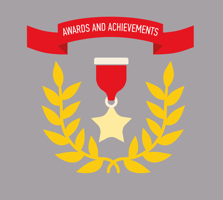 Icon award. Medals and the rewards for achievements or completed assignments. Flat design, simple color image.