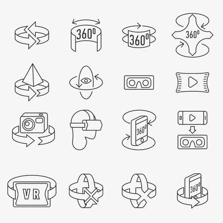 360 degrees icons set Ilustração