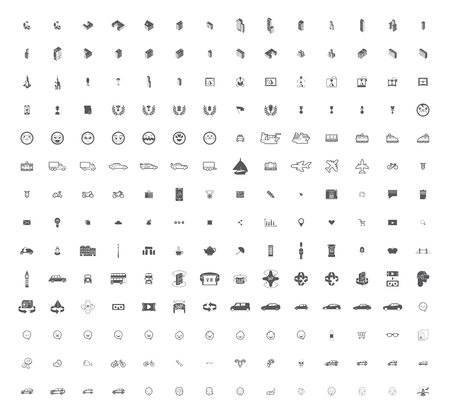 peripherals: A large set of unique icons for design and modern technology of various themes: gestures, people, transport, hobby, equipment, computer, tool, media