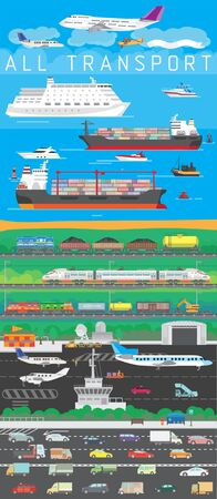 Vector illustration depicting different types of transport. Airplanes, ships, trains and various types of cars. Illustration for travel and cargo transportation. Иллюстрация