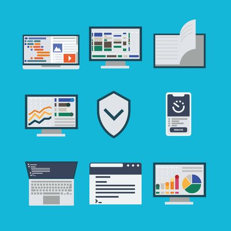 A set of icons with the process of collecting and processing data. Icons of security systems and graph analytics. Interfaces with diagrams and product code. Flat style, bright design. Illustration