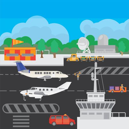 Illustration of suburban airfield with equipment and service system, dispatching and locator system. Illustration for travel and recreation.