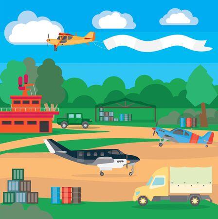 Aeroporto di paese. Illustrazione di un aeroporto suburbano con attrezzature e sistema di servizio, sistema di dispacciamento e localizzatore. Illustrazione per viaggi e tempo libero. Vettoriali