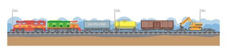 illustration of a railway transport. Modern types of trains for the transportation of goods and passengers. Different types of locomotives. Ilustrace