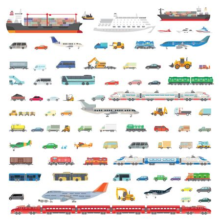Big set illustration of transport. Images of various types of aircraft, trains, cars, trucks and wagons for the transport of goods and travel. Color illustration in a flat style.