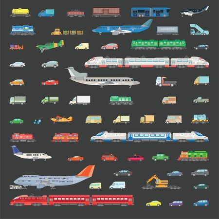 Big set vector illustration of transport. Images of various types of aircraft, trains, cars, trucks and wagons for the transport of goods and travel. Color illustration in a flat style.