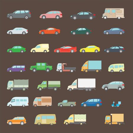 Various types of transport for the transport of goods and delivery of goods. Types of trucks, buses and small vehicles. Bright colors in the style of flat design.