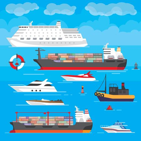 Vector illustration of a marine theme with images of different types of ships. Tourist liner, pleasure boats, yachts and cargo tankers. Bright colors in the style of flat design.