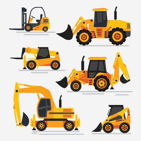 illustration of tractors and specialized machinery for construction works. Wheeled tractors and excavator. Flat design, detailed illustration.