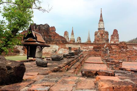 Ancient statues of Buddha in ruins, inside an old temple. Ayutthaya, Thailand