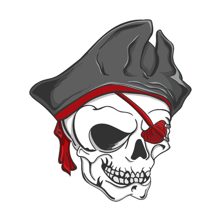 Skull wearing a black pirate hat and red eyepatch