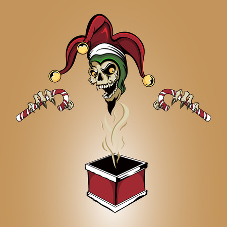 santa zombie: Illustration of a zombie joker vampire skull popping out of a warm christmas chimney box holding two candy canes wearing a santa hat with bells.