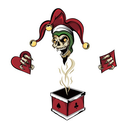 joker card: fantasy illustration of a laughing angry joker vampire zombie skull wearing a clown hat with three gold bells popping out of a magic poker chimney box holding the four card suits of a heart, diamond, spade and club.