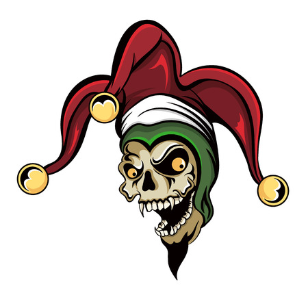 fantasy illustration of a laughing angry joker vampire zombie skull wearing a clown hat with three gold bells.