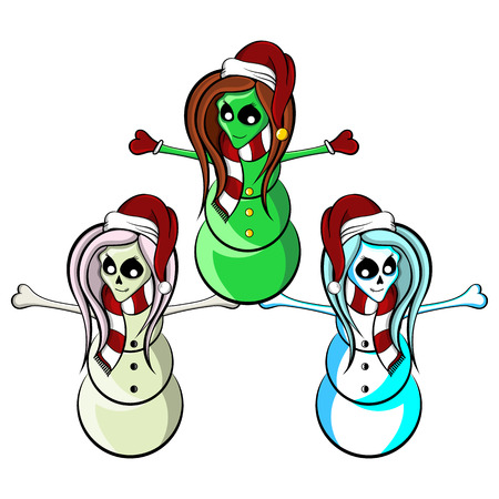 extra terrestrial: Illustration of a cute female zombie snowman alien and skeleton cheerleaders wearing Christmas Santa hats raising their arms with joy.