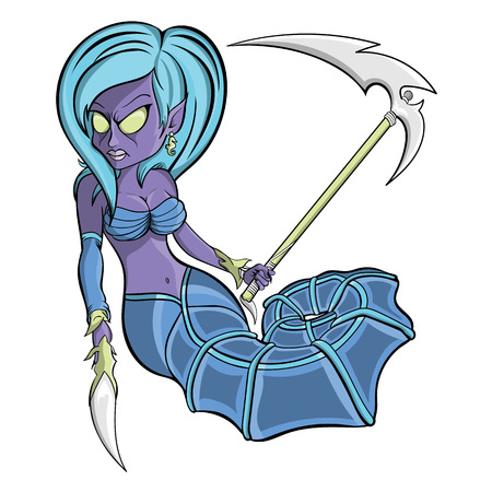 A vector fantasy illustration of a purple and blue aqua zombie seahorse mermaid woman wearing a arm brace holding a unique dagger and scythe hunting for sea creatures. Illustration