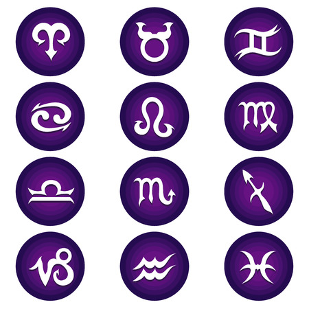 Vector illustrations of purple and white astrology zodiac icons for horoscope package set. Vector