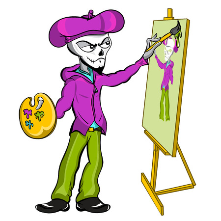 himself: A fantasy vector cartoon illustration of a zombie skeleton mime artist painting himself on an art canvas. Illustration