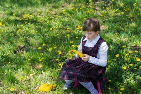kids weaving: little girl in a white blouse and school sundress in a cage in the park sitting on the portfolio. kid weaves a wreath of dandelions