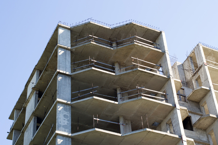 residential construction: construction of high-rise residential building close-up