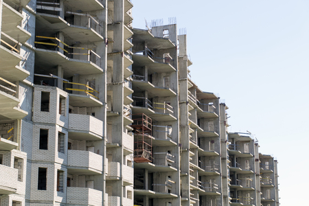 residential structures: construction of high-rise residential building close-up