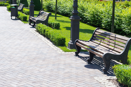 coloured: beautiful alley with benches in a small green park with shrubs and trees in urban areas