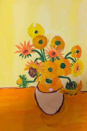 colores calidos: dibujo del niño de un jarrón con flores hechas con gouache sobre papel con colores cálidos