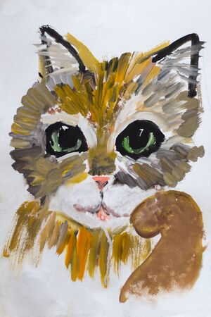 vibrant paintbrush: portrait of a childs drawing of a kitten done in gouache on paper in warm colors