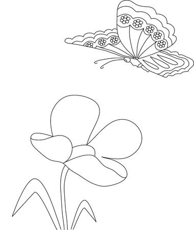 Manuelle Bleistiftzeichnung Einer Tulpe Blume Und Schmetterling ...