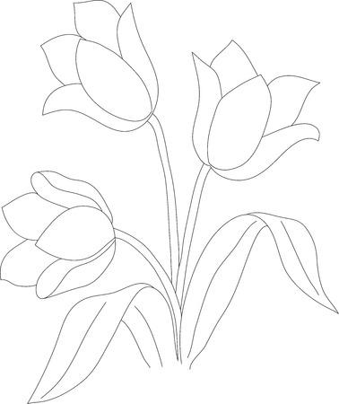 El Dibujo De Lápiz Manual De Una Flor De Tulipán Y Mariposa ...
